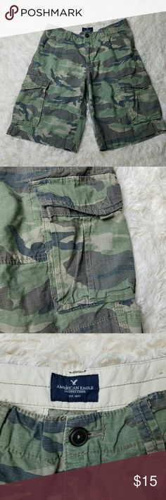 American Eagle Camo Cargo Shorts. Sz 30. Excellent used condition.   No trades but I love offers!  If something is priced at $4 I AM FIRM.  I sell every size in my closet so I can't model. But I will gladly answer any questions you have. Save more and bundle! American Eagle Outfitters Shorts Cargo