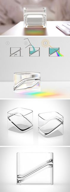 At first glance, this might look like your average glassware, but set it in sunlight and you'll reveal something special. Its 45 degree sloping bottom divides the glass in two triangular sections. When the glass cup is filled with water, the top section becomes a water prism that allows passing sunlight to project a rainbow on whatever surface it rests on.