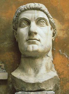 "Portrait of Constantine, from the Basilica Nova, Rome, Italy, ca. 315–330 CE. Marble, approx. 8' 6"" high. Palazzo dei Conservatori, Rome."