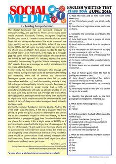 SOCIAL MEDIA - grade test worksheet - Free ESL printable worksheets made by teachers Reading Comprehension Activities, Reading Worksheets, Reading Passages, Printable Worksheets, Vocabulary Worksheets, Essay Writing Skills, Reading Skills, Teaching Reading, English Words