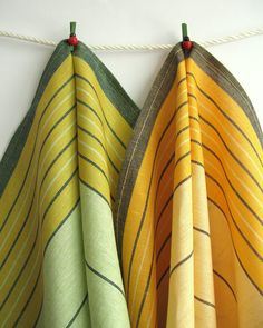 Set of 2 Organic Linen Tea Towels. Yellow and Green Striped Linen Kitchen Towels. Dish Towels, Tea Towels, Yellow Towels, Weaving Patterns, Scarf Patterns, Weaving Projects, Striped Linen, Kitchen Towels, Weaving