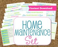 INSTANT DOWNLOAD Home Maintenance Organizers-Inventories-22 documents. $12.00, via Etsy.