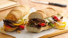 Dinner made easy with crusty French loaf filled with beef steak, vegetables and cheese.