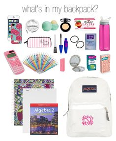 """""""whats in my backpack?"""" by paigehillmanx ❤ liked on Polyvore featuring beauty, JanSport, Eos, Urbanears, Lilly Pulitzer, Vera Bradley, Mead, Victoria's Secret, Stila and Kate Spade"""