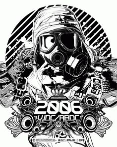 Vector, gasmask, black and white