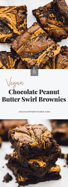 These Vegan Chocolate Peanut Butter Swirl Brownies are beyond addictive! They are chewy, fudgy, rich in chocolate and peanut butter and so easy to ma. Chocolate Peanut Butter Brownies, Best Peanut Butter Cookies, Healthy Peanut Butter, Peanut Butter Recipes, Chocolate Protein, Vegan Chocolate Cakes, Peanut Brownies, Chocolate Trifle, Fudgy Brownies