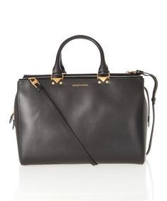 Another great find on #zulily! Black Small Convertible Leather Satchel by Emporio Armani #zulilyfinds