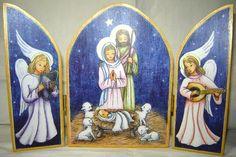 TRÍPTICO PESEBRE Angelic Symbols, Christmas Nativity, Holy Night, Tole Painting, Folk Art, Decoupage, Applique, Christmas Decorations, Bethlehem