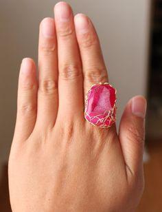 Pink Druzy Ring.