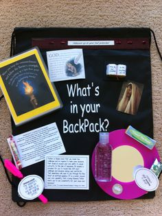 "Back to school activity! Watched DVD ""what's in your backpack"" by John Bytheway. I placed rocks in dollar store backpacks and had the girls think of things that were weighing them down. They removed the rocks and then we talked about things to fill their backpacks that would help them in new year of school"
