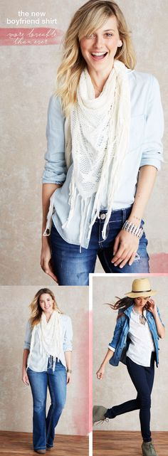 The new boyfriend shirt - more loveable than ever! A perfect transition piece to take your wardrobe from winter to spring with style - most styles under $40!  maurices.com