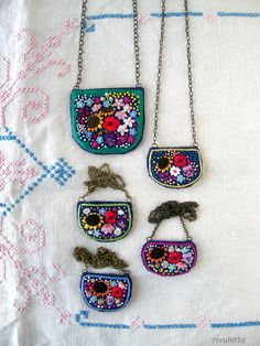 Navy flower garden necklaces