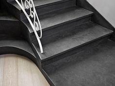 Detaliu #trepte #Microtopping pigmentat Concrete Art, Dark Grey, New Homes, Staircases, Stylish, Showroom, Detail, Home Decor, Decoration Home