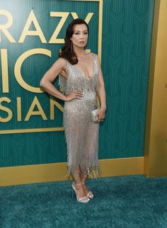 """Actress Ming-Na Wen arrives at the Warner Bros. Pictures' """"Crazy Rich Asians"""" premiere at the TCL Chinese Theatre IMAX on August 2018 in Hollywood, California. Elizabeth Henstridge, Melinda May, Ming Na Wen, Iain De Caestecker, Spring Summer Trends, Celebs, Celebrities, Gold Dress, Beautiful Asian Girls"""