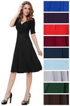 This is modest and beautiful! 3/4 Sleeve Ruched Waist Classy V-Neck Casual Dress