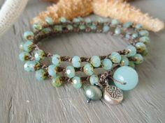 "Beachy crochet wrap bracelet 'Sea Treasures"" seafoam opal, rustic Thai silver charm, pearl, quartz,"
