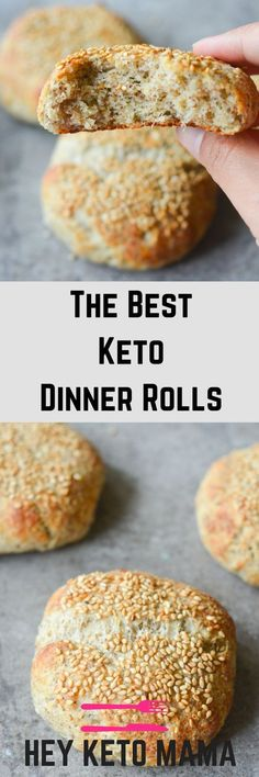 These are the best keto dinner rolls to help replace bread in your low carb lifestyle. This recipe is easy, filling, and delicious! via @heyketomama Keto Bagels, Low Carb Bagels, Low Carb Keto, Keto Carbs, Best Keto Bread, Banting, Lchf, Atkins, Keto Buns For Burgers