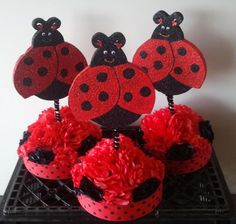 LadyBug with Paper Flowers Centerpiece by fiestapartysource, $12.99