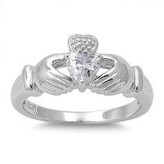 Irish Dublin Claddagh Ring 0.50 Carat Heart Shape Russian Diamond CZ Solid Sterling Silver Promise Ring Friendship Loyal Fidelity Ring