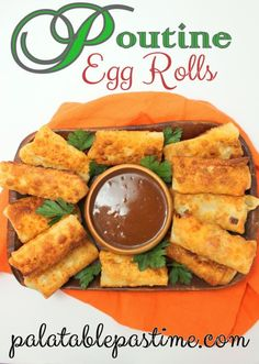 Poutine Egg Rolls are when the Great White North meets the Exotic Far East in this variation on classic Canadian Quebecois poutine. Poutine Egg Rolls by Sue Lau Tasty Potato Recipes, Egg Roll Recipes, Best Pasta Recipes, Delicious Recipes, Canadian Food, Canadian Poutine, Canadian Recipes, Poutine Recipe, True Food