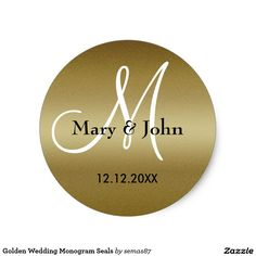 Shop Golden Wedding Monogram Seals created by Personalize it with photos & text or purchase as is! Gold Wedding Stationery, Glitter Wedding Invitations, Gold Wedding Theme, Sparkle Wedding, Wedding Envelopes, Monogram Wedding, Custom Wedding Invitations, Wedding Ideas, Monogram Stickers