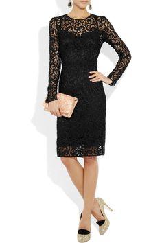 dressie dresses in lace | DOLCE & GABBANA Wool Blend Lace Dress. Black wool-blend lace. Zip ...
