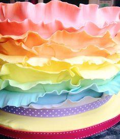 Ombre rainbow ruffle/frill cake