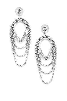 Gorgeous texture and shape, with just enough sparkle, define these hanging post earrings. Small textured chains circumnavigate an oval center bedecked in rhinestones, echoed on top with a rhinestone-flecked stud. Elegance with an edge.