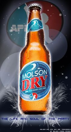 Technique: Graphic Tablet – Use of Brush Tool, Eraser Tool, Blur Tool and Burn & Dodge Tool. Time: Between 8 and 9 hour for the beer itself ; Molson Dry for father's day Billard Bar, Canadian Beer, Ernest Hemingway, Beer Bottle, Martini, Bottles, Alcohol, Canada, Ads