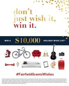 What would you do with $10,000 toward your holiday wish list? Don't just wish it, win it! Pin your dreams and tell Fairfield Residential why you deserve to win. To read contest details and to enter, visit: http://www.fairfieldresidential.com/wishlist/ #FairfieldGrantsWishes