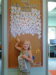 pointing to her tooth on the July No Cavity Club board! Dental Games, Dental Kids, Dental Art, Dental Logo, Dental Humor, Orthodontics Marketing, Dental World, Dental Office Decor, Dental Office Design