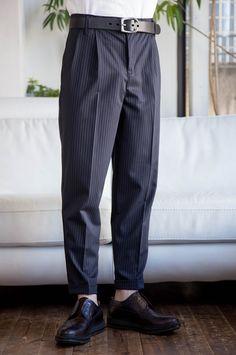 サマーウール調2タックW裾イージーアンクルパンツ