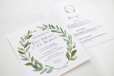 Custom made wedding invitations with greenery theme by www.makeadesign.fi / häät / hääkutsut / MakeaDesign