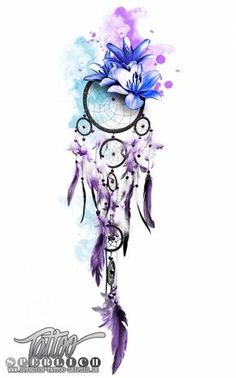 this is an idea for a watercolor tattoo with a dream catcher with great blue flowers and purple feathers tatoo feminina - tattoo feminina delicada - tattoo feminina braco - tattoo feminina costela - t Feather Tattoos, Forearm Tattoos, Flower Tattoos, Body Art Tattoos, Tattoo Thigh, Tatoos, Sleeve Tattoos, Watercolor Feather, Watercolor Heart