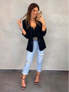 Blazer Feminino - Looks Casual e Despojado- Estação Store Blazer Outfits Casual, Bar Outfits, Mode Outfits, Classy Outfits, Chic Outfits, Spring Outfits, Fashion Outfits, Womens Fashion, Look Blazer
