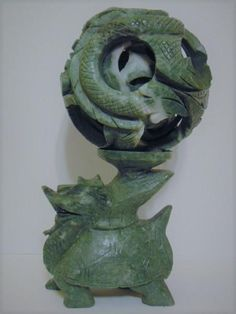 RARE LARGE VINTAGE CHINESE CARVED GREEN JADE COILED SNAKE OR DRAGON 6-LEVEL PUZZLE BALL ON CARVED JADE DRAGON TURTLE STAND #CHINA #CHINESE #Asian #Art #Antiques #Vintage #JADE #TurtleDragon #Dragon #PuzzleBall #Carving #Culture #Home #Design #Decor #HollywoodRegency #MidCentury