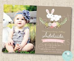 BUNNY BIRTHDAY INVITATION Rustic Style Invitation First Birthday Party Shabby Chic Rabbit Flowers Easter Printable file with photograph