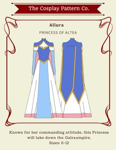 Allura Princess Gown Cosplay from Legendary Defender series by TheCosplayPatternCo #VLD #Cosplay #Costume #SewingPattern