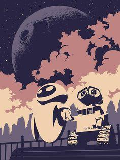 Wall-E Poster by Luke Stover Disney Kunst, Arte Disney, Disney Magic, Disney Art, Wall E Eve, Disney Pixar, Disney And Dreamworks, Disney Villains, Pinturas Disney