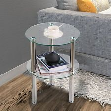 Small Round Glass Side Table In 2020 Glass Side Tables Side Table Wood Side Table