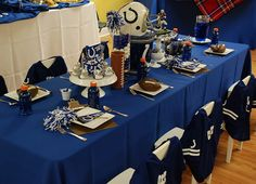 chair covers, birthday parties, banquet, footbal parti, football parties, kid birthdays, parti idea, football birthday, bowls
