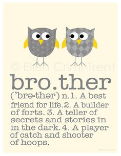 Kid Wall Art Brother print by EllenCrimiTrent on Etsy, $18.00