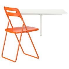 IKEA - NORBERG / NISSE, Table and 1 chair, Becomes a practical shelf for small things when folded down.Table top covered with melamine, which gives a durable, easy to clean finish.You save space when the table is not being used as it can be folded away.You can hang it on a hook on the wall to save space.