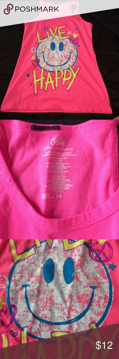 Justice sleep tank neon pink with white and blue smiley face (color isn't cracking...it's supposed to look like that)   perfect for a slumber party or a movie night at home. vibrant and cute. worn about once. great condition. practically new Justice Pajamas Pajama Tops