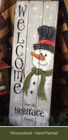 This beautiful hand painted welcome sign would be a great gift for a couple that is newly married or has moved into a new home. Or for someone who just loves snowmen! sign by april Pallet Christmas, Christmas Signs, Christmas Snowman, Rustic Christmas, Christmas Projects, Christmas Holidays, Christmas Decorations, Christmas Ornaments, Christmas Ideas