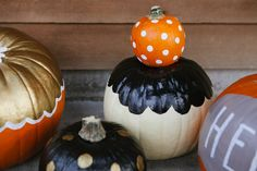 This October I need cute painted pumpkins in my life. Hello pretty polka-dot pumpkin! Cue The Confetti