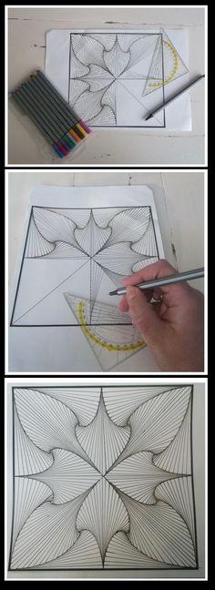 Spiral zentangle - The most creative designs Zentangle Drawings, Doodles Zentangles, Doodle Drawings, Zendoodle, Doodle 2, Doodle Patterns, Zentangle Patterns, Op Art, Tangle Art