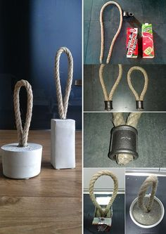 Sew the door stopper and make it yourself : Do creative doorstops yourself. DIY ideas with concrete Cement Art, Concrete Cement, Concrete Furniture, Concrete Crafts, Concrete Projects, Concrete Garden, Concrete Design, Diy Home Gym, Diy Home Decor