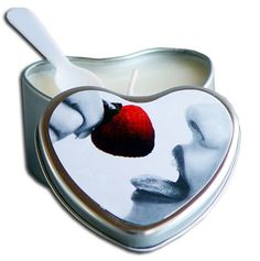 Strawberry Edible Massage Oil Heart Candle - 4 oz. Funtimes209