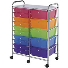 "Blue Hills Studio Double Storage Cart with 15 Drawers, 25.5""x38""x15.5"", Multi-Color"